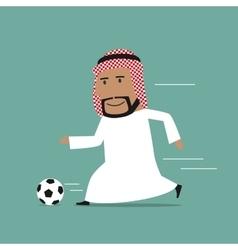 Arabian businessman running with soccer ball vector