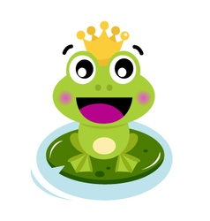 Cute surprised frog prince isolated on white vector