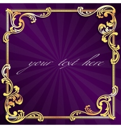 golden frame with gold filigree vector image vector image