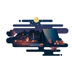 Night fire near the tent camp vector image vector image
