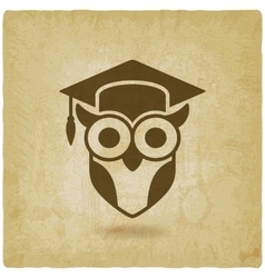 owl in graduation cap wisdom symbol old vector image