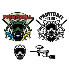 pattern with mask and gun for paintball vector image vector image
