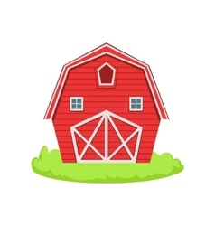 Red wooden barn cartoon farm related element on vector