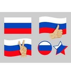 Russia flag icons set vector image vector image