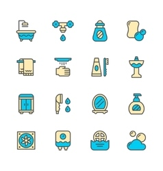 Set color line icons of bathroom vector image vector image
