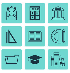 set of 9 education icons includes haversack vector image
