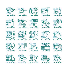 summer vacation outline icons vector image