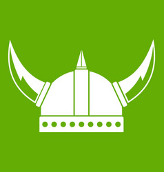 viking helmet icon green vector image vector image