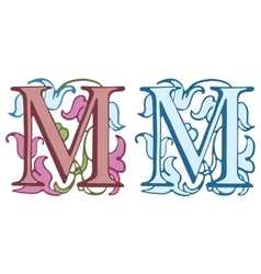 Vintage initials letter M vector image vector image
