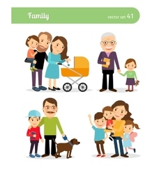 Happy family characters vector image vector image