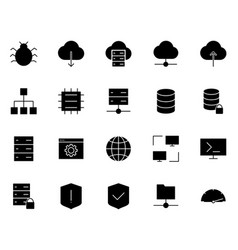 hosting icons set simple minimal 96x96 pictograms vector image