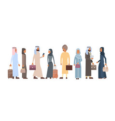 muslim people crowd business man and woman vector image vector image