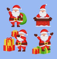 santa clauses set icon snow chimney bag box vector image