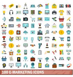 100 e-marketing icons set flat style vector image vector image