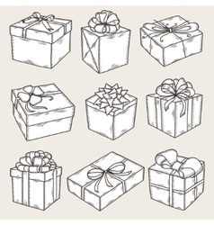 Hand drawn gift boxes set Vintage vector image vector image