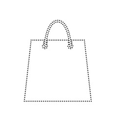 shopping bag black dotted vector image vector image