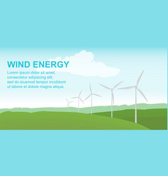 wind power station on the green field alternative vector image