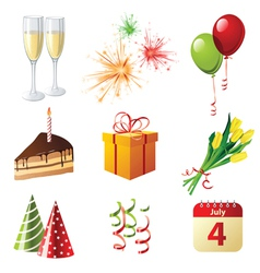 9 highly detailed celebration icons vector image vector image