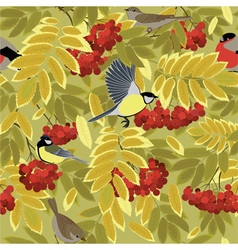 Autumn branch of rowan and bird vector