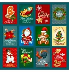 Christmas day greeting card set for festive design vector