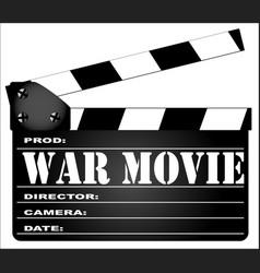 war movie clapperboard vector image vector image