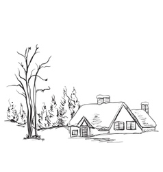 Winter background house and tree in the landscape vector image