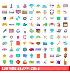 100 mobile app icons set cartoon style vector image