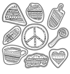 adult coloring page stickers and embroidery vector image