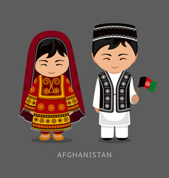 Afghans in national dress with a flag vector
