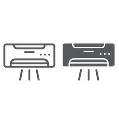 air conditioner line and glyph icon climate and vector image