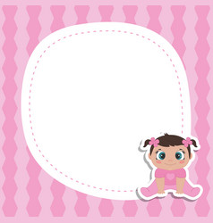 bagirl shower invitation card with little girl vector image