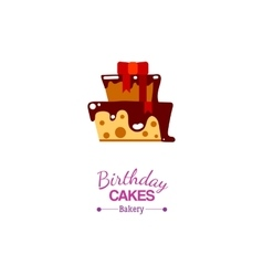 Birthday cake flat icon vector