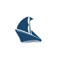 Boat and ship logo design with open curtain vector