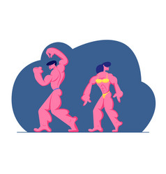 bodybuilders male and female characters posing on vector image