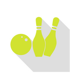 bowling sign pear icon with flat vector image