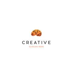 Brain dots mind creative technology logo design vector