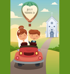 Bride and groom riding a car after wedding vector