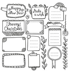 Bullet journal and christmas doodle element vector