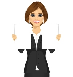 business woman holding two blank papers vector image