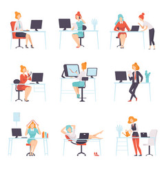 businesswomen working in office set business vector image