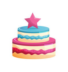 cake dessert in chocolate glaze with cream and vector image