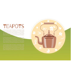 cartoon ceramic teapot and kettle for tea party vector image