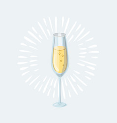 cartoon glass of champagne vector image