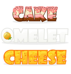 Cartoon text name words omelette cheese and cake vector