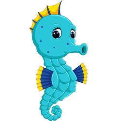 Cartoon watercolor seahorse vector