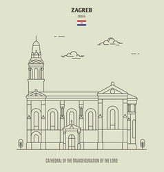 cathedral in zagreb croatia vector image