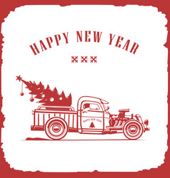 christmas truck side view red color image vector image