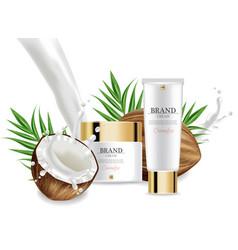 coconut creams set collection realistic vector image