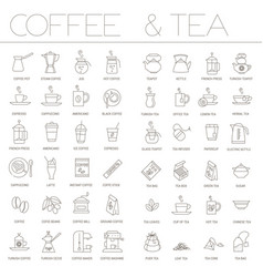 coffee and tea icon set vector image