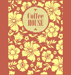 coffee shop with flower pattern background vector image